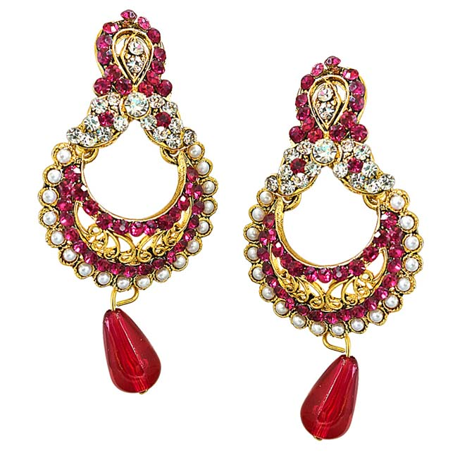 Traditional Pink & White Stone & Gold Plated Chandbali Earrings