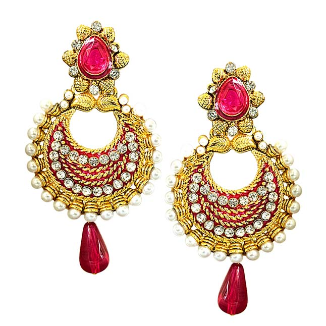 Traditional Pink & White Stone, Shell Pearl & Gold Plated Chandbali Enamelled Earrings