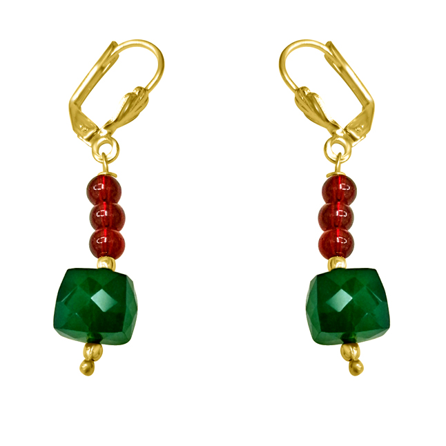 Traditional Real Green Onyx & Red Coloured Stone Earrings. - Earrings