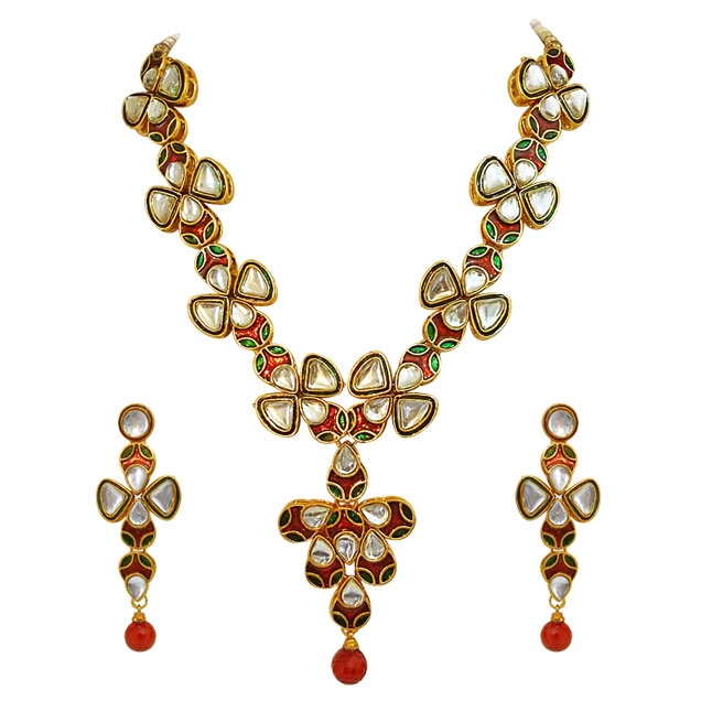 Traditional Red Green & White Polki Necklace Earrings Set