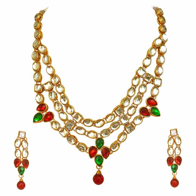 Traditional Red Green White Polki Necklace with Earrings