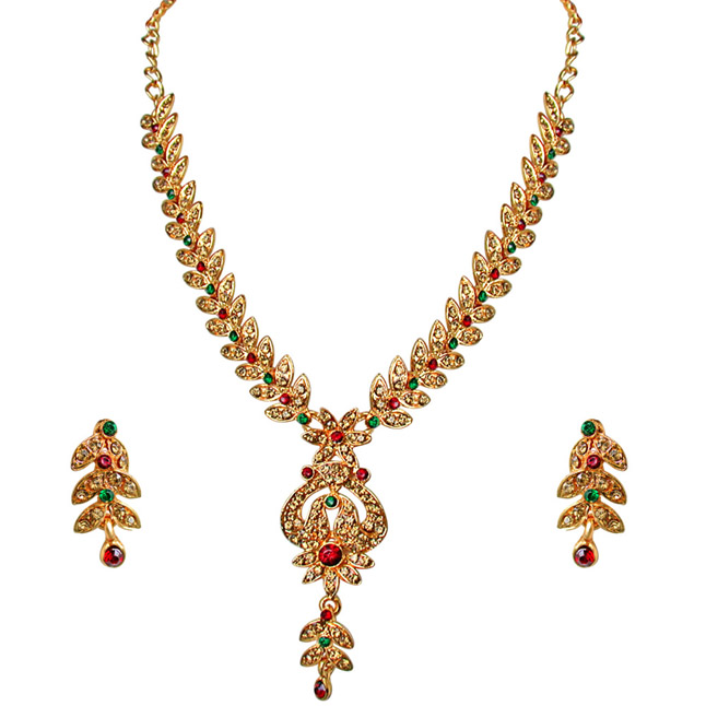 Traditional Red, Green & Yellow Coloured Stone Floral Shaped Necklace & Earrings Set