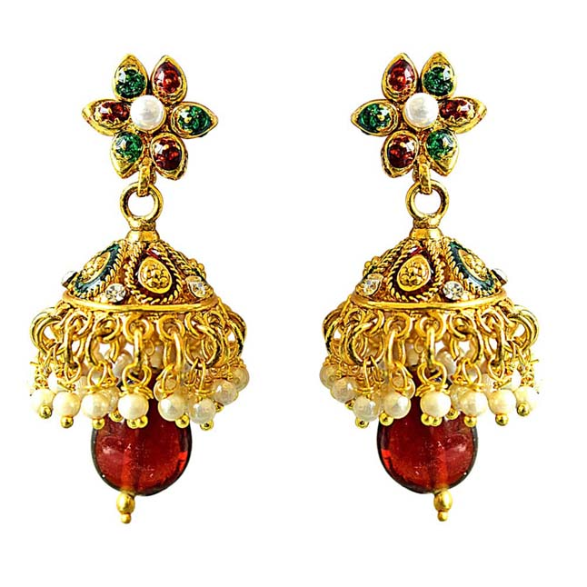 Traditional Red, White & Green Coloured Stone & Gold Plated Copper Jhumki Earrings