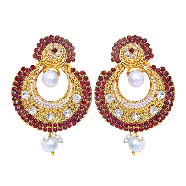 Traditional Round Shaped Red & White Stones & Gold Plated Dangling Fashion Earrings for Women