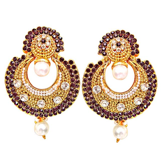 Traditional Round Shaped Purple & White Stone & Gold Plated Dangling Fashion Earrings for Women