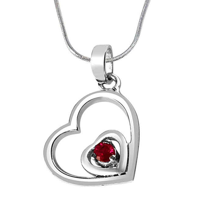 Treasures of my Life Red Ruby & Sterling Silver Pendant with 18 IN Chain