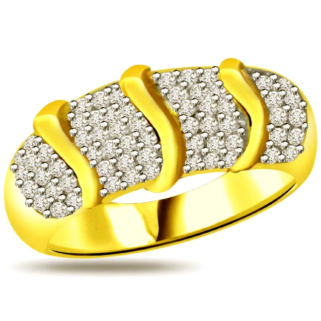 Trendy Diamond Gold rings SDR888 -2 Tone Half Eternity