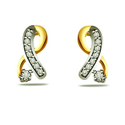 Trendy Diamond Gold Earrings -Two Tone Earrings