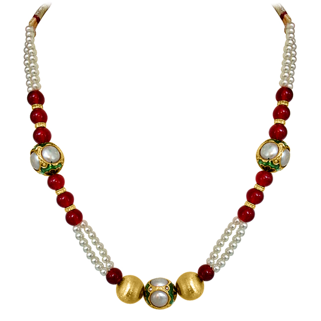 Trendy Kundan Balls, Shell Pearl & Red Beads Necklace. -Necklace
