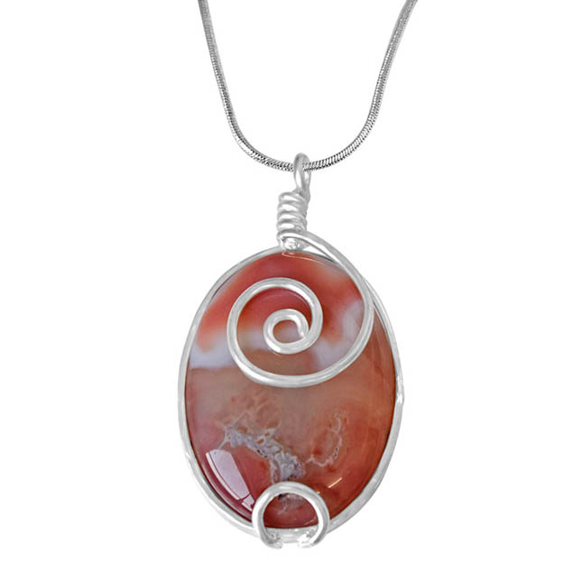 "Trendy Peach -Orange Shaded Oval Shaped Agate & Silver Plated Pendants with 18"" Chain -Agate Pendants + Chain"