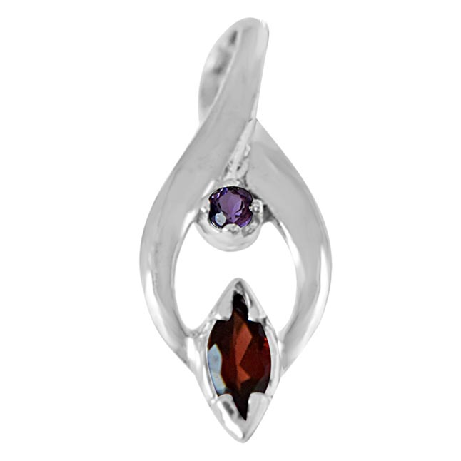 Trendy Marquise Shaped Red Garnet, Round Purple Amethyst and 925 Sterling Silver Pendant with 18 IN Chain
