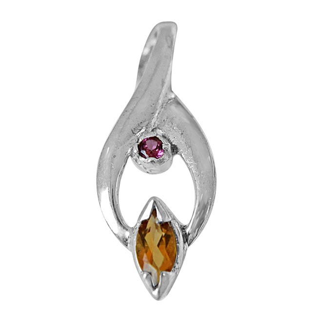 Trendy Marquise Shaped Golden Topaz, Round Pink Garnet and 925 Sterling Silver Pendant with 18 IN Chain