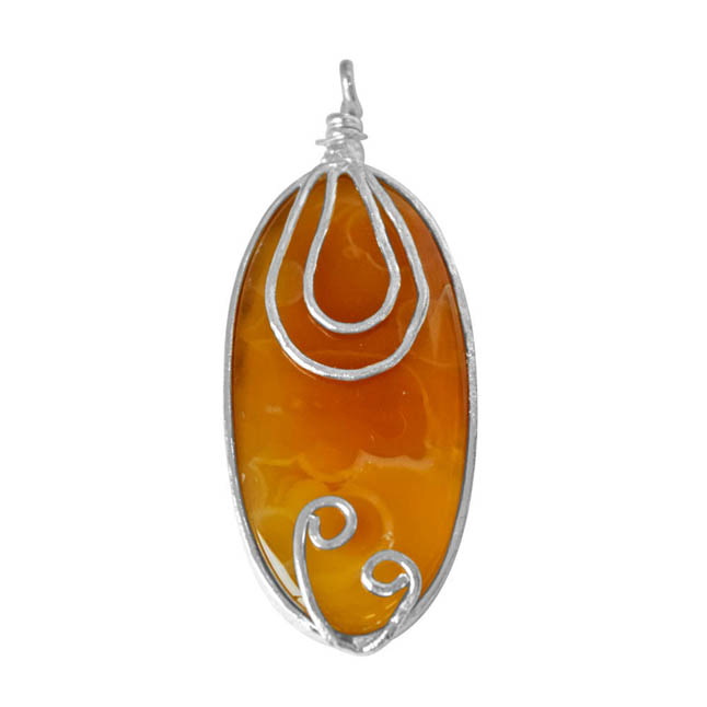 """Trendy Yellowish Brown Shaded Oval Agate & Silver Plated Pendants with 18"""" chain -Agate Pendants + Chain"""