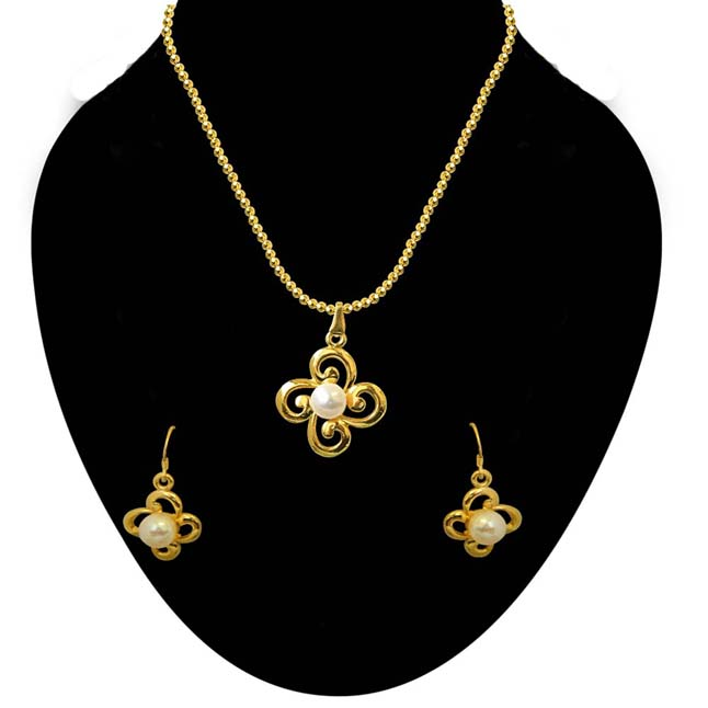 Trendy Button Pearl & Gold Plated Pendant with Chain & Matching Earring for Women (SDS216)