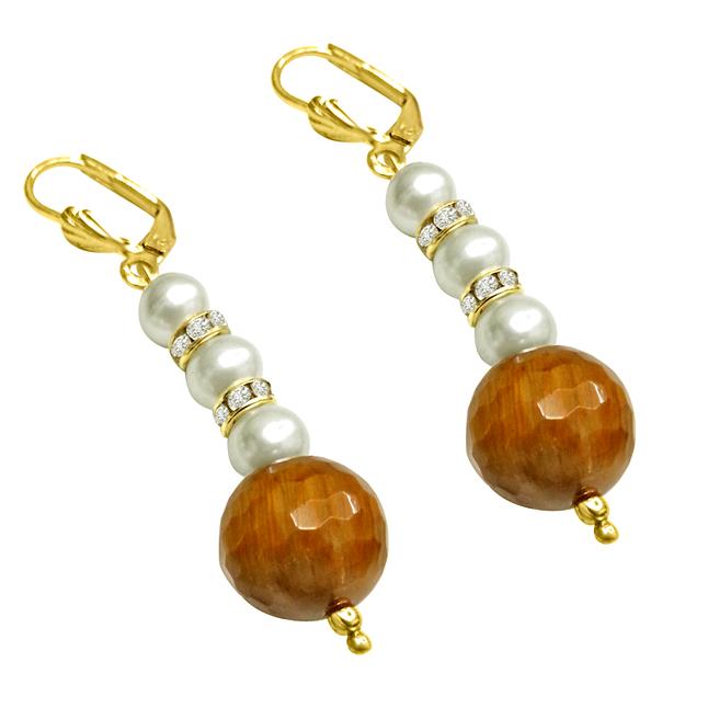 Trendy Tiger Eye & Shell Pearl Earrings