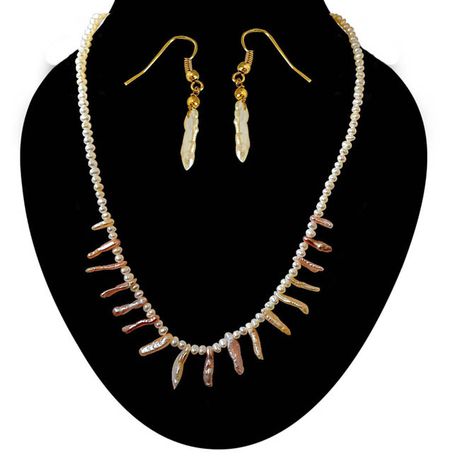 Trendy Real Natural Peach & White Pearl Necklace with matching Earrings -Pearl Set