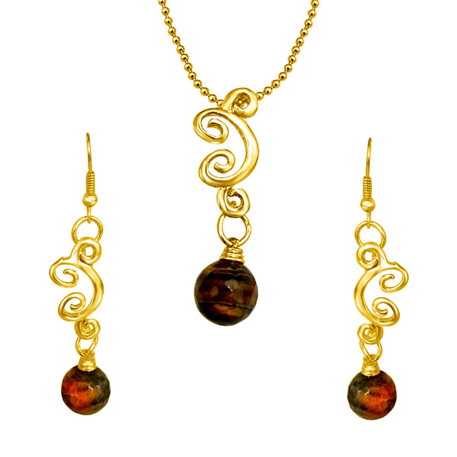 Real Big Brown Tiger Eye Ball & Gold Plated Pendant & Earring Set with Chain for Women (SDS156)
