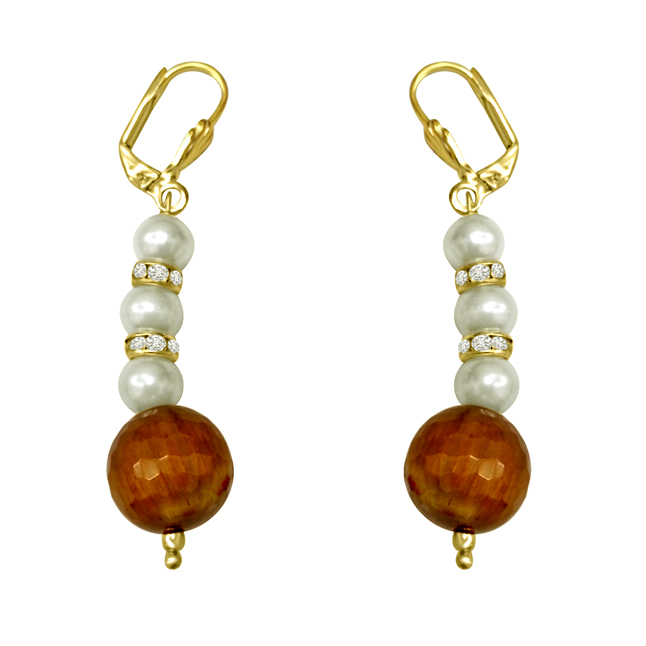 Trendy Tiger Eye & Shell Pearl Earrings