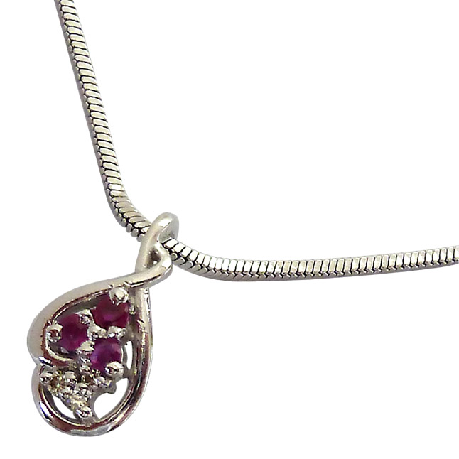 "Trinking Love -Real Diamond, Red Ruby & Sterling Silver Pendants with 18"" Chain"