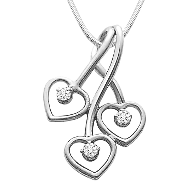 Triple Heart Delight - Real Diamond & Sterling Silver Pendant with 18 IN Chain