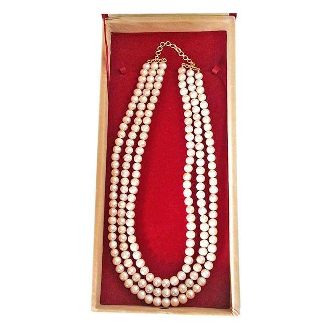 Triple Pearl Delight -2 To 3 Line Necklace