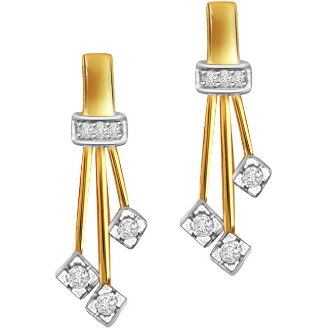 Triple Planted Studs Diamond Earrings