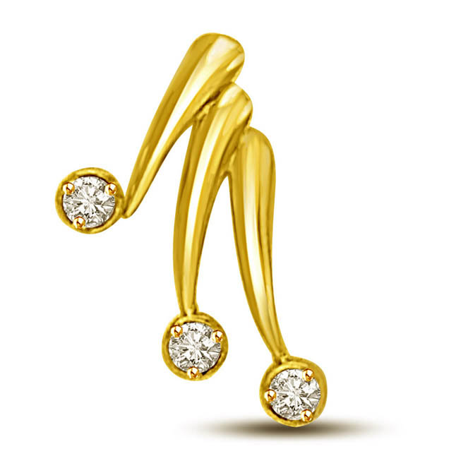 Triple Treat of Love -0.15 TCW Diamond Solitaire Pendants in 18kt yellow gold -Designer Pendants