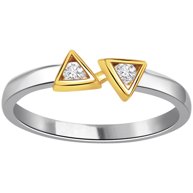 Twin Trangle 0.10 ct Diamond Two -tone rings -White Yellow Gold rings