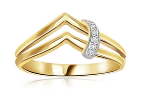 Twin Wing Flow 0.05 ct Charming Diamond rings -White Yellow Gold rings