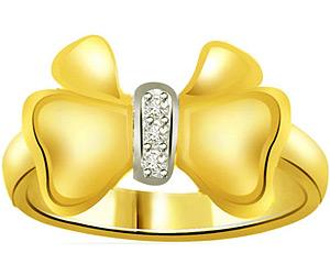 Twinkling Bow -0.03 cts 3 Diamond 18K rings -3 Diamond rings