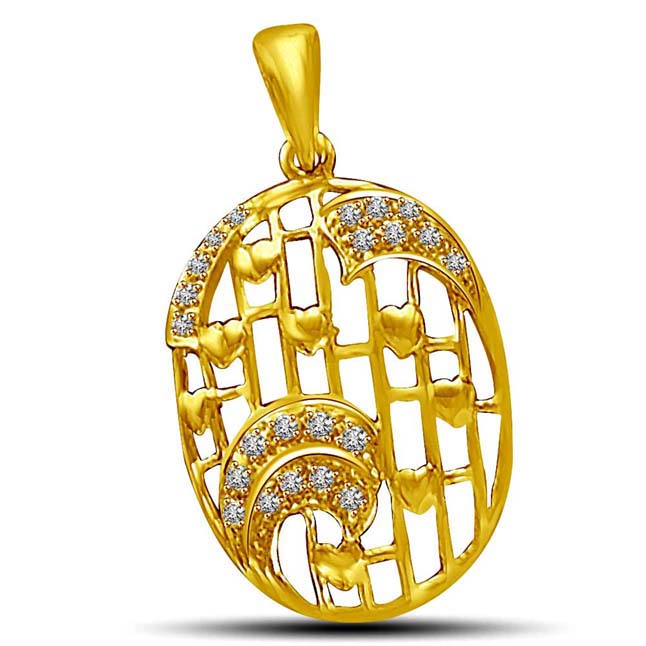 Twirl of Waves & Hearts in this Gold & Diamond Pendants. -Designer Pendants