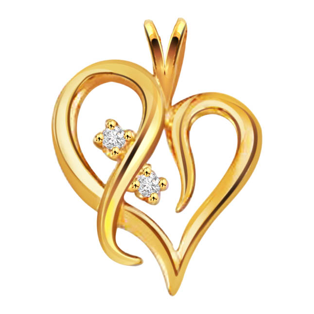 Twirly Hearts -diamond Pendants p195| Surat Diamond Jewelry