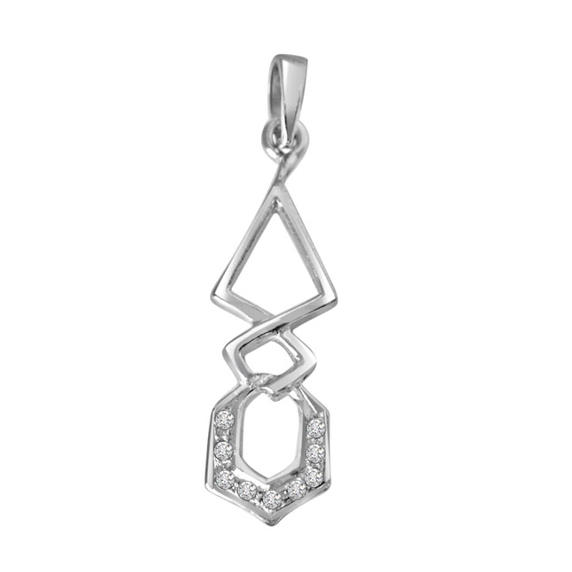 "Twist Me Around -Real Diamond & Sterling Silver Pendants with 18"" Chain"