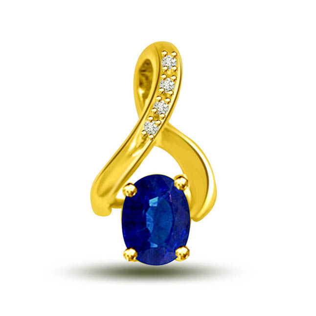 Twist Of Fate:Blue Real Sapphire & Diamond 18kt Yellow Gold Pendants For Her