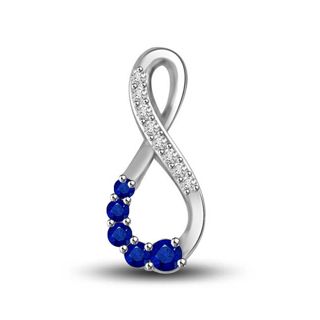 Twiste Of Fate:Diamond & Blue Sapphire White Gold Pendants
