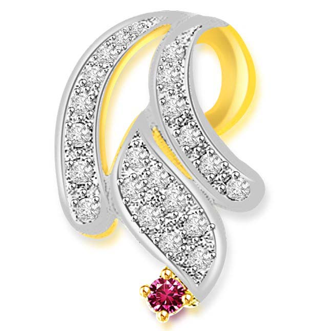 Twisted Curls -0.33 cts Diamond & Ruby Two Tone 18K Pendants -Diamond -Ruby