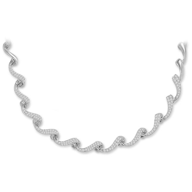 Twisted Curves 2.25ct VS Clarity Diamond Necklace -Diamond Necklace