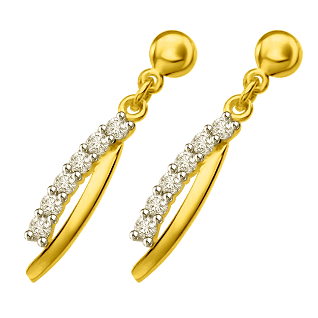 Twisted Dreams 0.30ct Diamond & Yellow Gold Drop Earrings