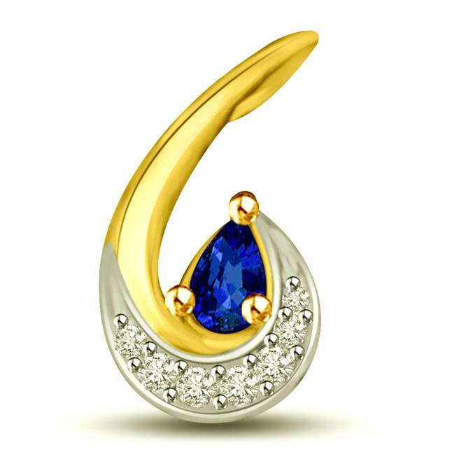 Twisted Leaf Diamond & Blue Sapphire Pendants -P1003
