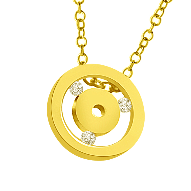 Two Gold Circles Interspaced With Diamond 18kt Yellow Pendants -Designer Pendants