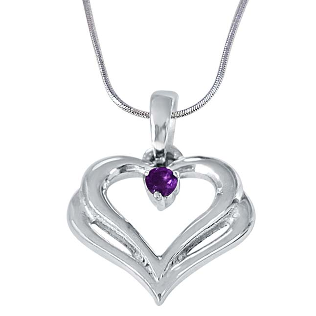 Two Heart's Become One Amethyst & 925 Sterling Silver Pendant with 18 IN Chain