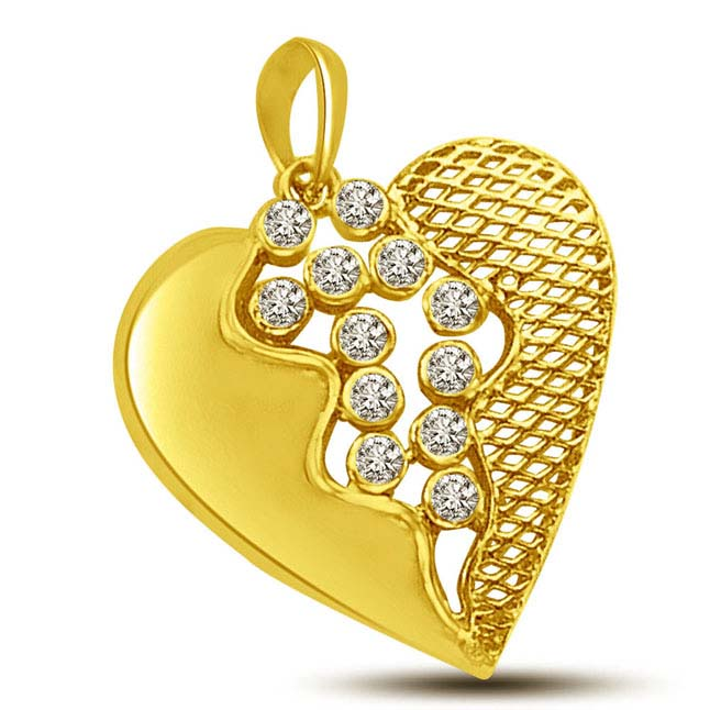 Two Heart's Merge Exquisite Designed Gold & Diamond Pendants for Her