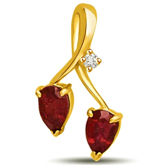 Two to Tango Diamond & Ruby 18k Gold Pendants