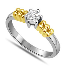 Two Tone Diamond 1.00 ct Solitaire rings -White Gold Big Sol