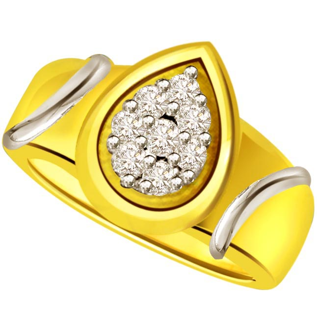 Two -Tone Diamond Gold rings SDR502 -White Yellow Gold rings