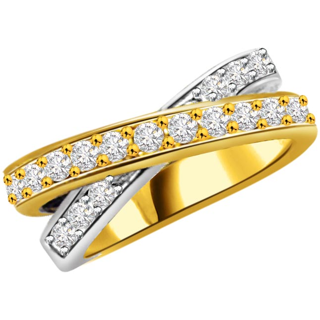 Two -Tone Diamond Half Eternity rings SDR754 -2 Tone Half Eternity