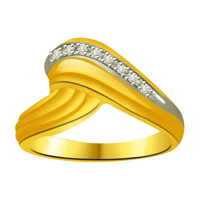 Two-Tone Diamond Gold Ring SDR852