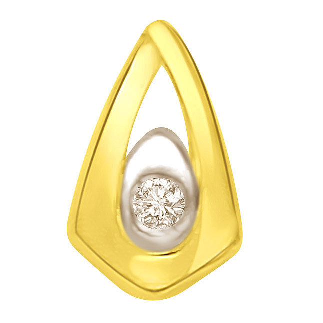 Two tone Drop Pendants with Diamond encrusted in centre -Solitaire