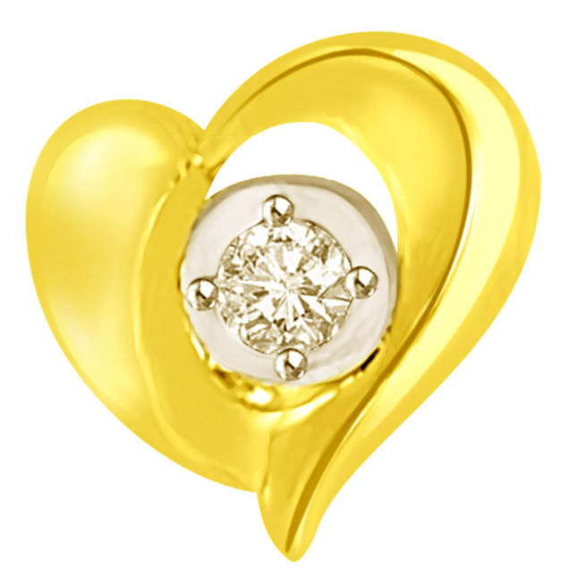 Two Tone Heart Shaped Pendants with Diamond at centre