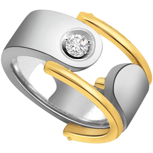 Two Tone Solitaire Mens Diamond rings -Two Tone Solitaire